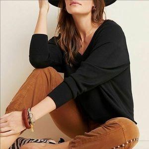 Anthropologie Gabby V-Neck Merino Sweater Black XL